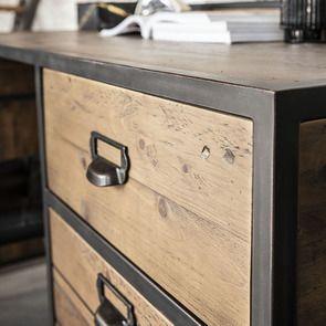 Bureau industriel en bois recyclé et acier - Manufacture - Visuel n°3
