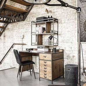 Bureau industriel en bois recyclé et acier - Manufacture - Visuel n°5