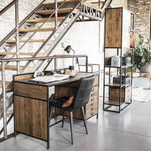 Bureau industriel en bois recyclé et acier - Manufacture - Visuel n°7