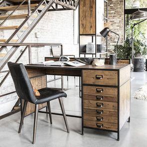 Bureau industriel en bois recyclé et acier - Manufacture - Visuel n°8