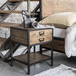 Table de chevet industrielle en bois recyclé et métal - Manufacture - Visuel n°6
