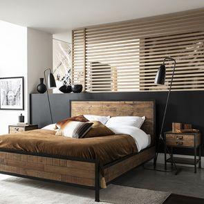 Table de chevet industrielle en bois recyclé et métal - Manufacture - Visuel n°7