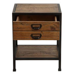 Table de chevet industrielle en bois recyclé et métal - Manufacture - Visuel n°9