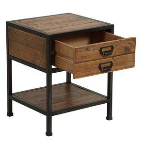 Table de chevet industrielle en bois recyclé et métal - Manufacture - Visuel n°10