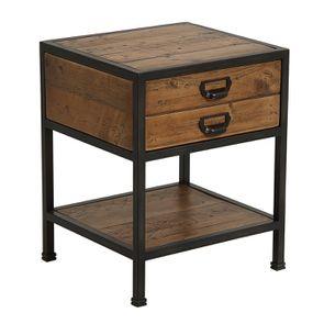 Table de chevet industrielle en bois recyclé et métal - Manufacture - Visuel n°11