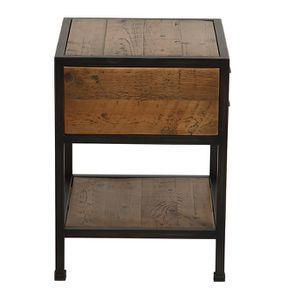 Table de chevet industrielle en bois recyclé et métal - Manufacture - Visuel n°12