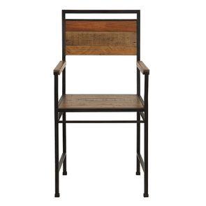 Fauteuil de table industriel en bois recyclé et métal - Manufacture