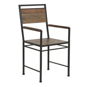 Fauteuil de table industriel en bois naturel grisé recyclé et métal - Manufacture