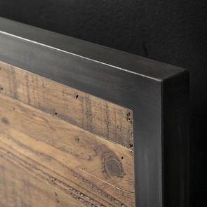 Lit 160x200 industriel en bois recyclé et métal - Manufacture