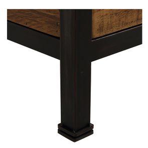 Lit 180x200 industriel en bois recyclé et métal - Manufacture