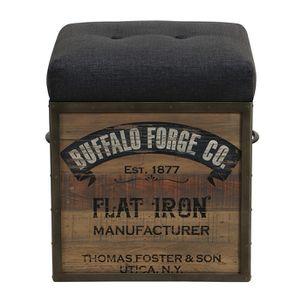 Pouf coffre industriel en bois recyclé naturel grisé - Manufacture