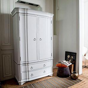 Armoire penderie blanche 2 portes en bois - Monceau - Visuel n°2