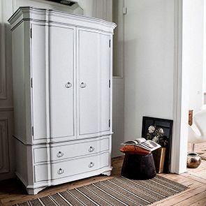Armoire penderie blanche 2 portes en bois - Monceau - Visuel n°3