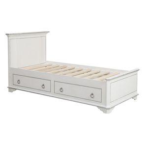 Lit enfant 90x190 avec tiroirs en bois blanc satiné - Monceau