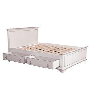 Lit 140x190 avec tiroirs en bois blanc satiné - Monceau - Visuel n°5