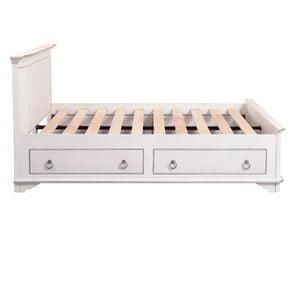 Lit 140x190 avec tiroirs en bois blanc satiné - Monceau - Visuel n°1