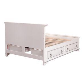Lit 140x190 avec tiroirs en bois blanc satiné - Monceau - Visuel n°9