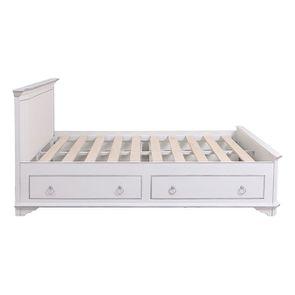 Lit 160x200 avec tiroirs en bois blanc satiné - Monceau