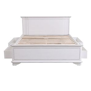 Lit 180x200 avec tiroirs en bois blanc satiné - Monceau - Visuel n°5