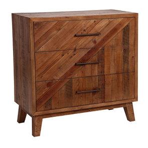 Commode 3 tiroirs en bois recyclé - Empreintes - Visuel n°6