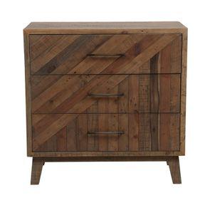 Commode 3 tiroirs en bois recyclé naturel grisé - Empreintes