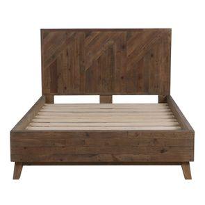 Lit 140x190 en bois recyclé naturel grisé - Empreintes - Visuel n°3