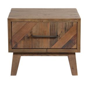 Table de chevet en bois recyclé naturel grisé - Empreintes
