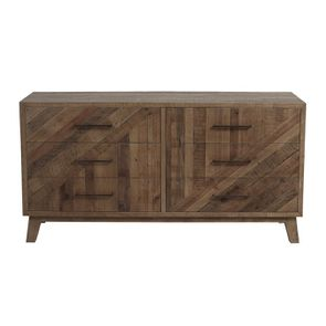 Commode 6 tiroirs en bois recyclé naturel grisé - Empreintes - Visuel n°1