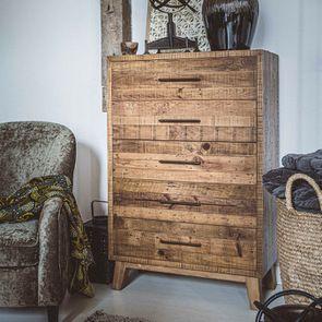 Commode semainier en bois recyclé - Empreintes