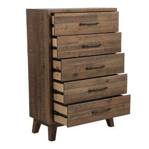 Commode chiffonnier en bois recyclé naturel grisé - Empreintes - Visuel n°3