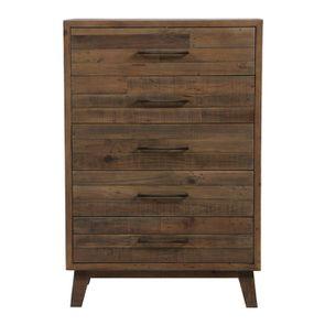 Commode chiffonnier en bois recyclé naturel grisé - Empreintes - Visuel n°1