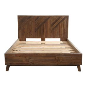 Lit 160x200 en bois recyclé naturel grisé - Empreintes - Visuel n°3