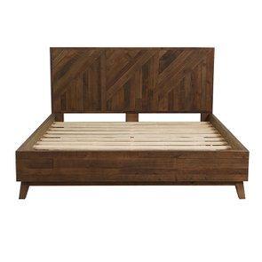 Lit 180x200 en bois recyclé naturel grisé - Empreintes - Visuel n°3