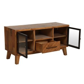 Meuble TV en bois recyclé 1 tiroir - Empreintes - Visuel n°3