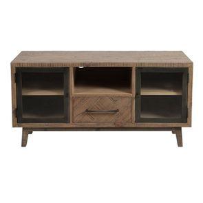 Meuble TV en bois recyclé naturel grisé 1 tiroir - Empreintes
