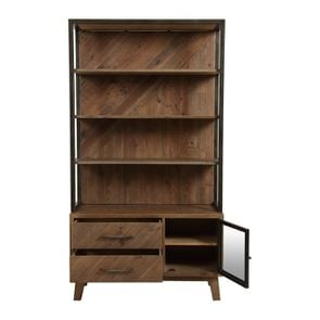 Bibliothèque en bois recyclé naturel grisé - Empreintes - Visuel n°2