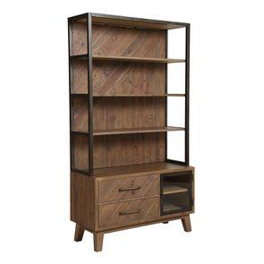 Bibliothèque en bois recyclé naturel grisé - Empreintes - Visuel n°4