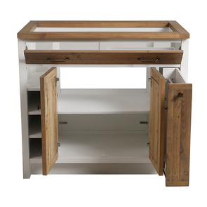 Meuble pour évier en bois recyclé blanc - Rivages - Visuel n°5