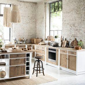 Casserolier 3 tiroirs en bois recyclé blanc - Rivages - Visuel n°5