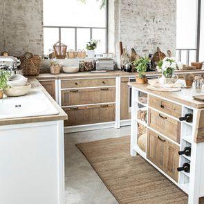 Casserolier 3 tiroirs en bois recyclé blanc - Rivages - Visuel n°6