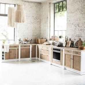 Casserolier 3 tiroirs en bois recyclé blanc - Rivages - Visuel n°7