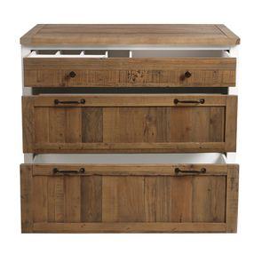 Casserolier 3 tiroirs en bois recyclé blanc - Rivages - Visuel n°11