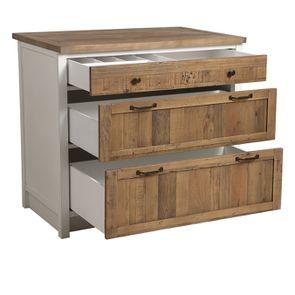 Casserolier 3 tiroirs en bois recyclé blanc - Rivages - Visuel n°12