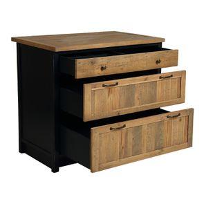 Casserolier 3 tiroirs en bois recyclé bleu navy - Rivages - Visuel n°3