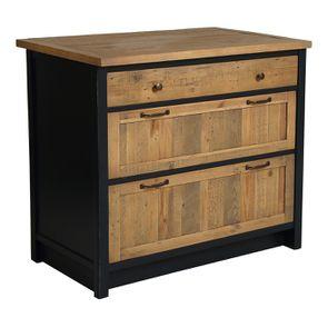 Casserolier 3 tiroirs en bois recyclé bleu navy - Rivages - Visuel n°4