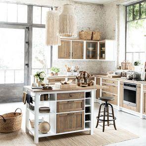 Meuble bas de cuisine pour four et plaque en bois recyclé blanc - Rivages - Visuel n°3