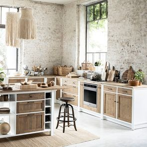 Meuble bas de cuisine pour four et plaque en bois recyclé blanc - Rivages - Visuel n°5