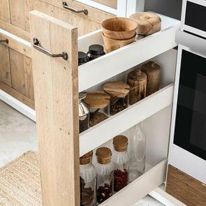 Meuble bas de cuisine pour four et plaque en bois recyclé blanc - Rivages - Visuel n°8