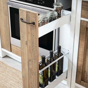 Meuble bas de cuisine pour four et plaque en bois recyclé blanc - Rivages - Visuel n°9