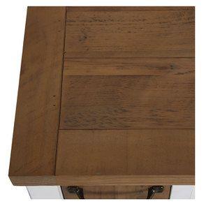 Meuble bas de cuisine pour four et plaque en bois recyclé blanc - Rivages - Visuel n°17
